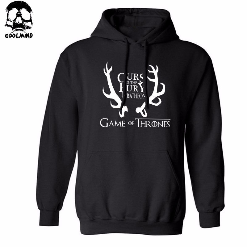 THE COOLMIND Top quality cotton blend game of thrones men hoodies casual winter is coming house of stark men sweatshirt with hat 4