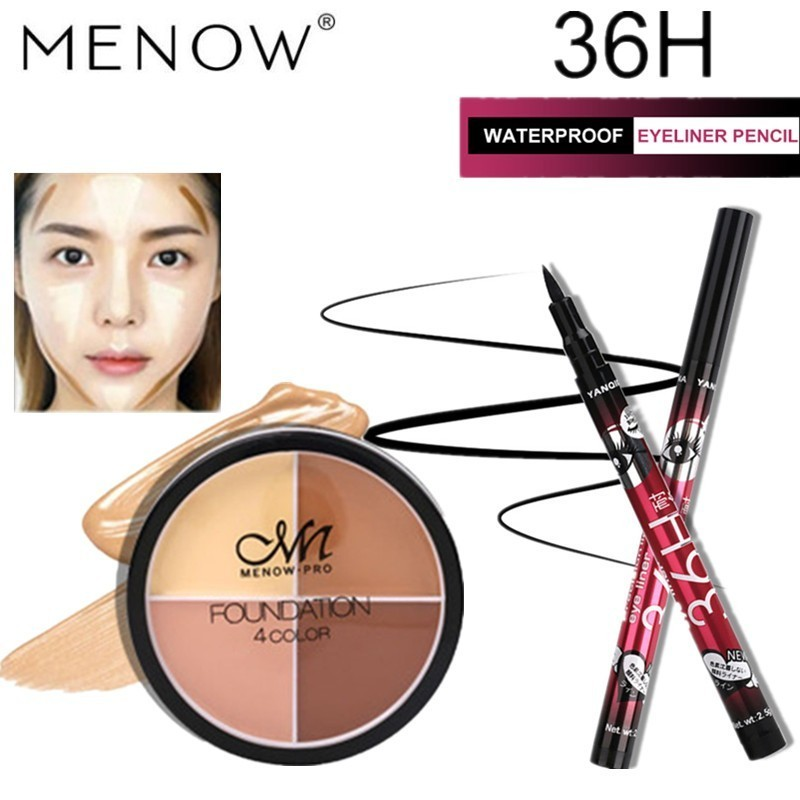 Make Up Set Waterproof Four color Concealer And Hot Sale Long Lasting Eyeliner Cosmetic Combination Drop Ship MENOW Makeup Set in Makeup Sets from Beauty Health