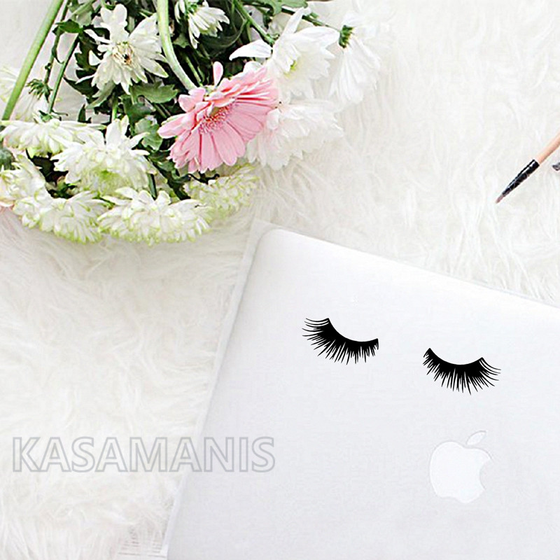 cute eyelashes decal laptop decor