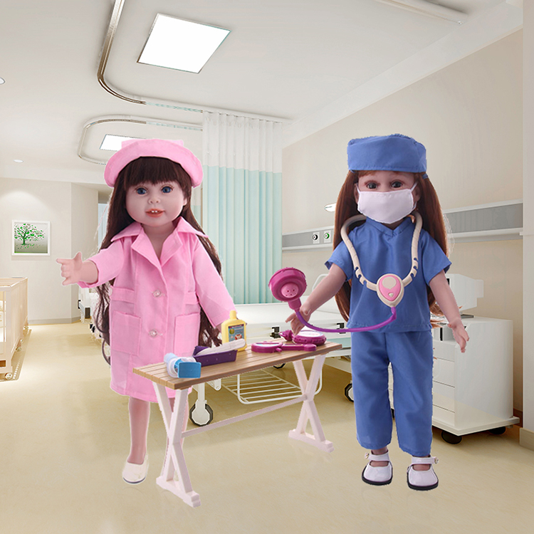 LUCKDOLL Professional Doctor Nurse Uniform Fit 18 Inch American 43cm Baby Doll Clothes Accessories,Girls Toys,Generation,Gift