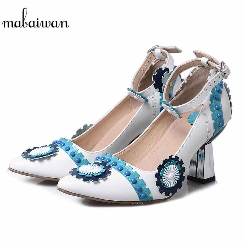 Mabaiwan Blue Women Casual Shoes High Heel Summer Sandals Pointed Toe Flower Genuine Leather Shoes Woman Rivet Gladiator Pumps mabaiwan women shoes genuine leather summer sandals casual platform wedge shoes woman rivets gladiator wedges breathable sandal