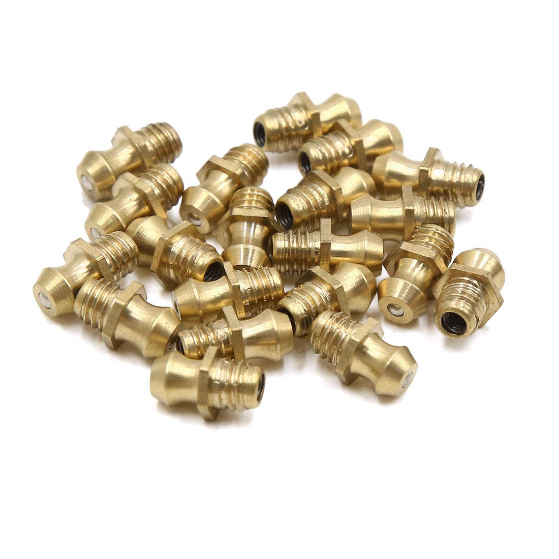 Uxcell 20pcs M6 X 1 Thread Brass Straight Grease Nipple Fitting For Motorcycle Car