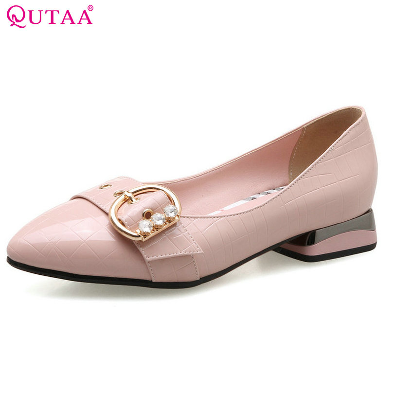 QUTAA 2018 Women Pumps PU leather Square Low Heel Shoes Crystal Sweet Style Elegant Black White Ladies Wedding Shoes Size 34-43 1 design laser cut white elegant pattern west cowboy style vintage wedding invitations card kit blank paper printing invitation