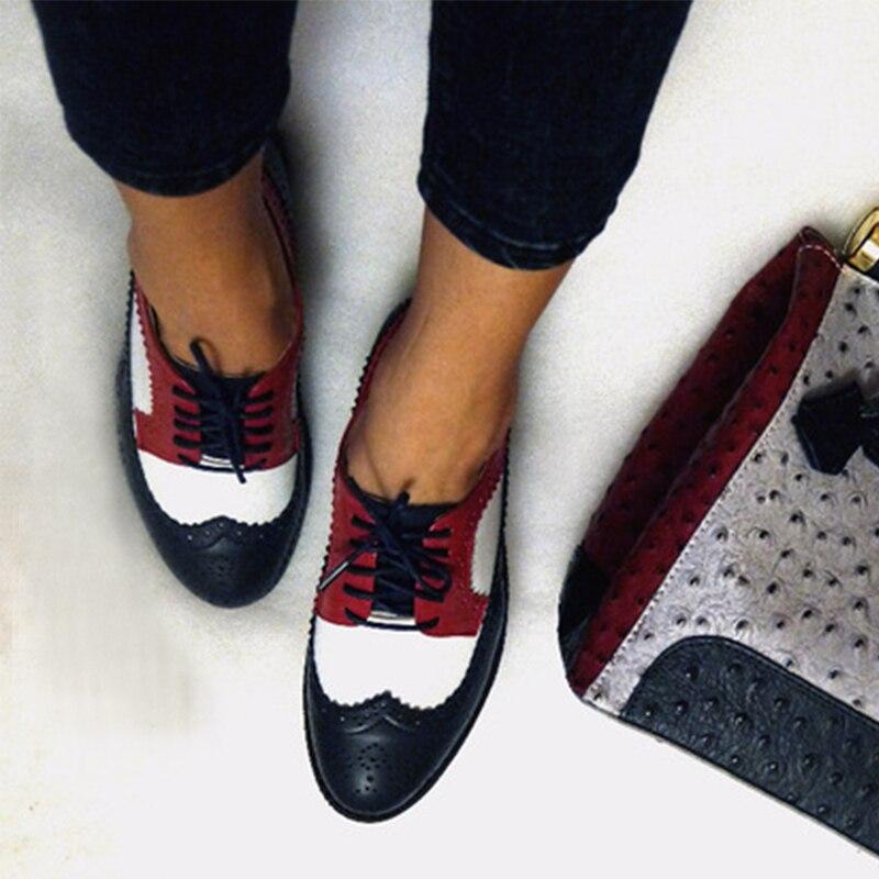 여성 플랫 옥스포드 신발 여성 정품 가죽 스니커즈 숙녀 Brogues 빈티지 캐주얼 애호가 신발 여성을위한 옥스포드 신발
