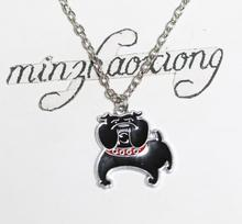 Black Enamel French Bulldog Charm Pendant Necklace Chain Jewelry Gift New 10pcs