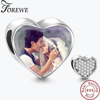 eaf3b11af8bc Personalizado foto 925 perlas Zirconia cúbica de plata esterlina corazón  encantos Fit Pandora pulsera DIY joyería Original
