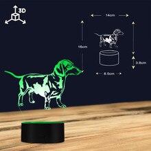 Dachshund Sausage Dog 3D Optical illusion Light Wiener-Dog Pet Puppy Glowing LED Light Table Lamp Kid Room Decor Night Light