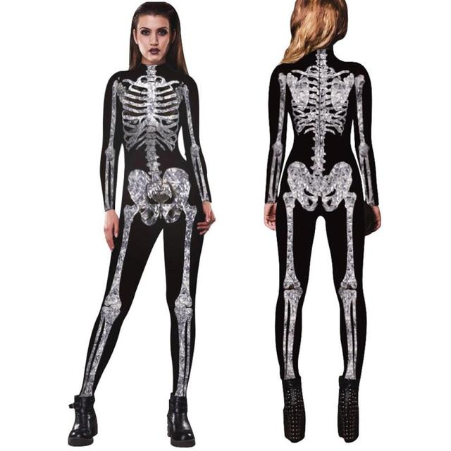be2f9609ae9 Casual 2018 festival unisex Jumpsuit Men Womens Skeleton Bones Halloween  Cosplay Bodycon Party Fancy Play Clothing TW