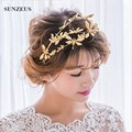 Hermosa Princesa Tiara de La Corona de Oro de la Libélula Accesorios Pelo de La Boda Para Las Novias SQ062