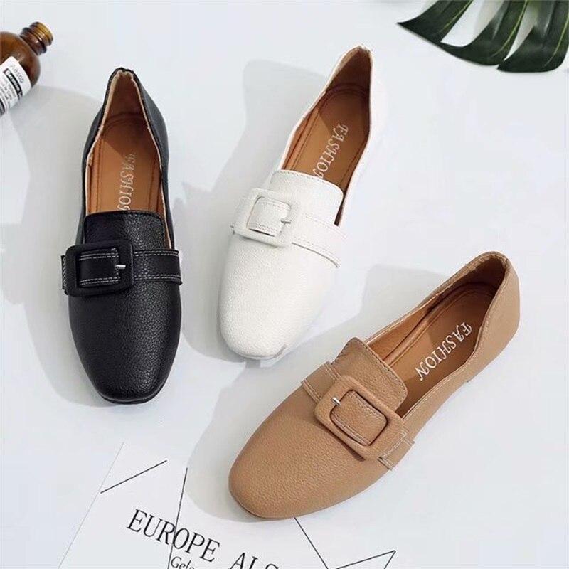 Mujer Zapatos otoño Alpargatas Femenino Individual Plano Señoras Hebilla Brown negro Cuadrado Cuero Primavera blanco Acogedor Mocasines Sapato E8q5x