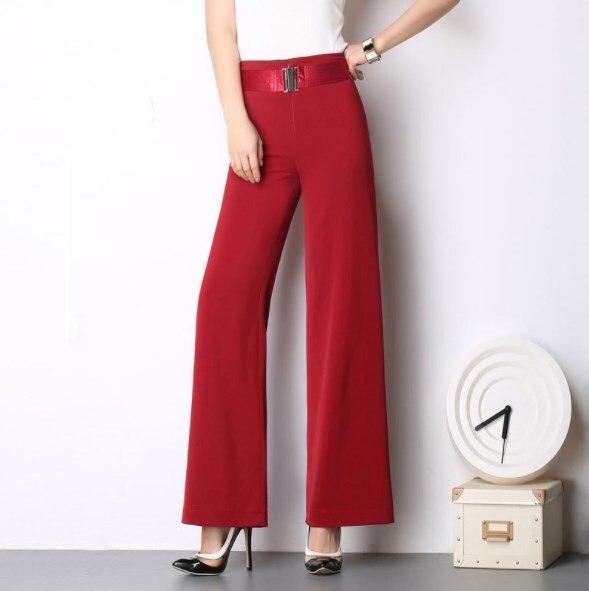 Womens Wide Leg Pants Chiffon Korean Straight Pants Grey Red Black Plus Size Ladies High Waist Woman Loose Pants Full Length 6XL