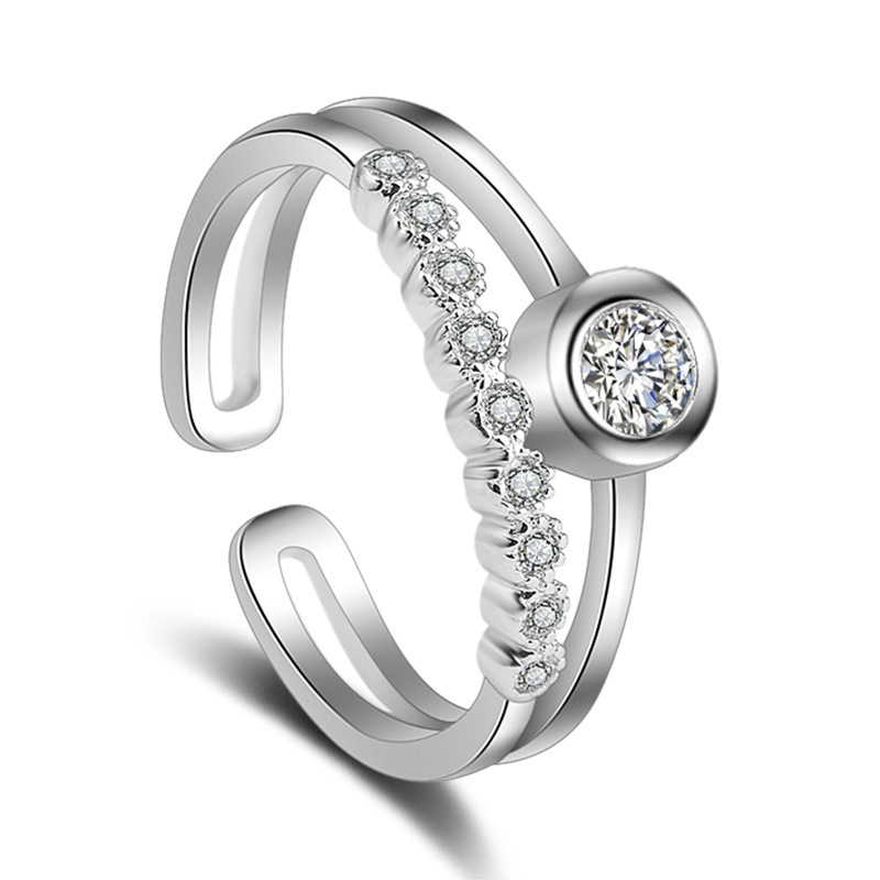 100 925 sterling silver fashion shiny crystal ladies finger rings jewelry party wedding ring wholesale no fade Anti allergy in Rings from Jewelry Accessories