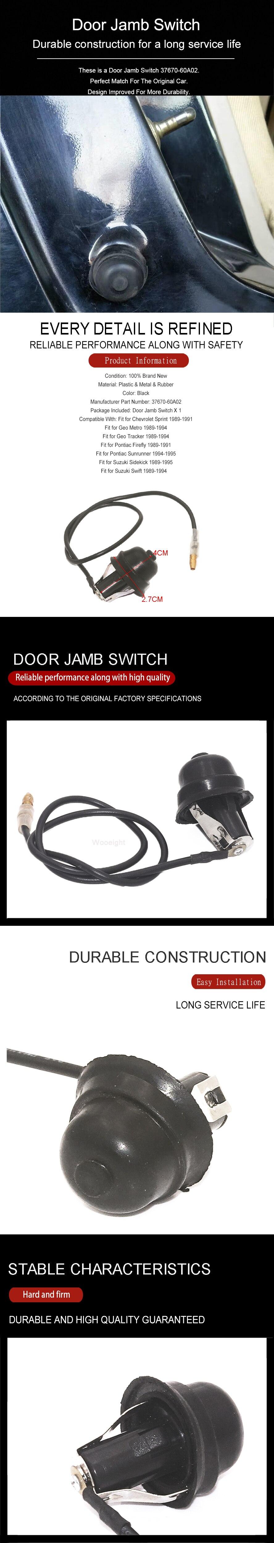 New Door Jamb Switch sensor Fit For Suzuki Swift Sidekick Geo Metro Tracker Pontiac Firefly Chevrolet Sprint 37670-60A02