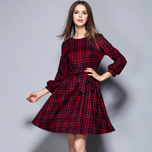 Msguide Womens Autumn Elegant Belted Tartan Check Plaid Lantern Sleeve Work Office Casual Party Thicken A-Line Swing Dress 876