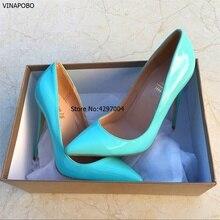 セクシーな女性ハイヒールの靴小剣ハイヒールの女性は紺指摘つま先の女性の靴プラスサイズ 35-43 Vinapobo
