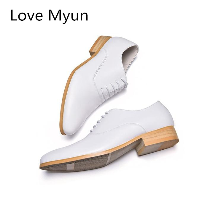 New mens genuine leather dress shoes white balck oxfords round toe lace up wedding shoes high