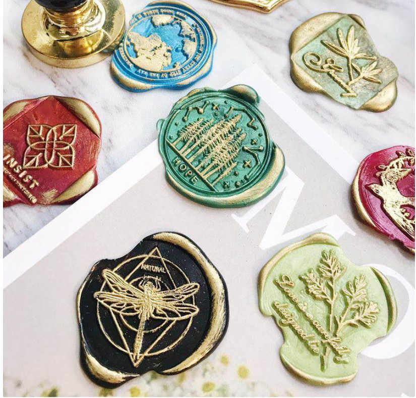 Forest mushroom ginkgo plant leaf deer world travel dragonfly whale horse Swallow butterfly stamp wood handle wax sealing stamp