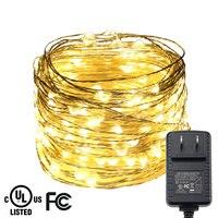 20 M/65FT 200 LEDs Srebrny Drut Wielokolorowe LED String Światła Christmas Fairy Starry Światła Wakacje Świeca Światła + UL CE Adapter