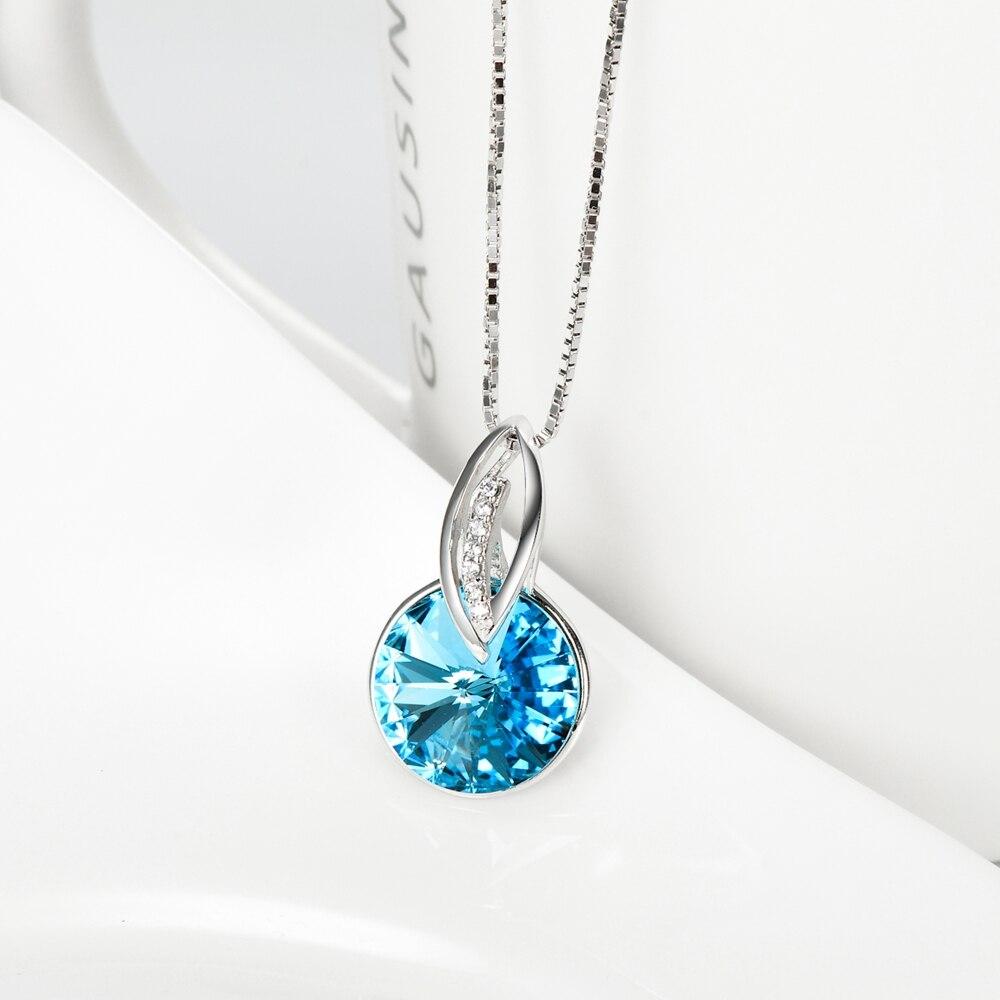 925 sterling silber schmuck sky blue kristall rund minimalistischen - Edlen Schmuck - Foto 3