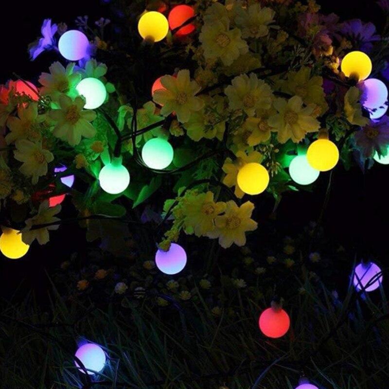 blanco c/álido Luces de jard/ín solares Luces de Hadas Decorativas a Prueba de Agua con Energ/ía Solar y Recargables para Festival con 30 Bolas de Cristal de 20 pies de para interiores y exteriores