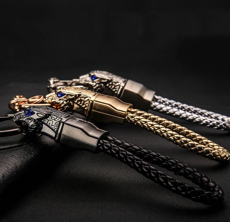 HTB1F6QYersTMeJjSszhq6AGCFXal - New High Grade Men Key Chain Key Ring Rhinestones Car Keychains Holder Jewelry Bag Pendant Business Gift Genuine Leather K1572