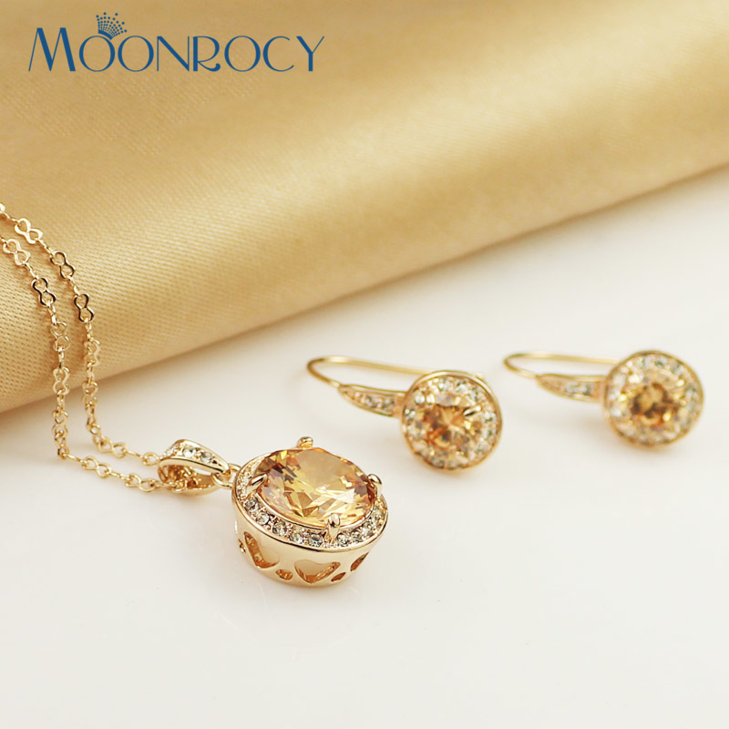 MOONROCY Free Shipping jewelry wholesale Rose Gold Color yellow Crystal Jewelry Set Necklace and Earring for women Gift yoursfs® 18k rose gold plated colorful raindrop crystal necklace and earring jewelry используйте синие австрийские хрустальные свадебные наборы