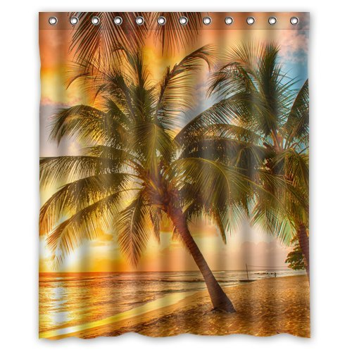 CHARMHOME Custom Hawaii Summer Beach Palm Tree Sunset Shower Curtain  Stylish Waterproof Polyester Fabric Bathroom Deco  In Shower Curtains From  Home ...