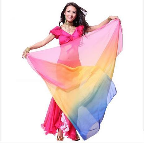 Acessórios de dança do ventre sênior TECIDO DE SEDA IMITADO 2.1 * 1.1 m véus de dança do ventre para as mulheres cachecol de dança do ventre