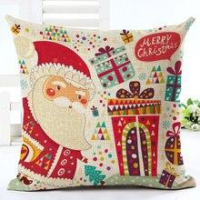 цены на 2019 Happy New Year Decor Santa Claus Series Pattern Square Linen Pillowcase 45x45cm Natal Merry Christmas Decorations for Home  в интернет-магазинах