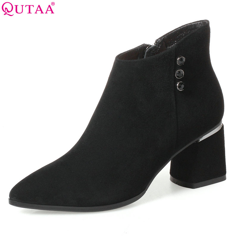 QUTAA 2018 Women Ankle Boots Square High Heel Genuine Leather Classic Zipper Pointed Toe Women Motorcycle Boots Size 34-42 qutaa 2018 black women ankle boots square high heel pointed toe genuine leather fashion zipper women motorcycle boots size 34 42