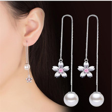 Everoyal Charm Crystal Pink Flower Girls Long Earrings Jewelry Top Quality 925 Sterling Silver Women Pearl Accessories