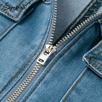 Simplee Sexy deep v-neck denim women playsuit Short sleeve belt zipper short jumpsuit Chic party club ladies jeans overalls 2019 8