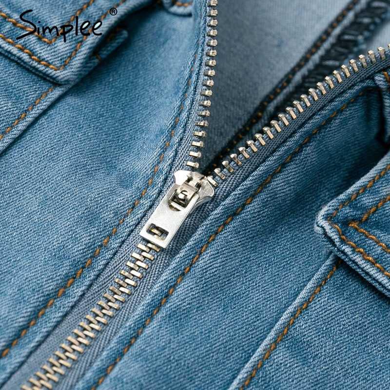 Женский джинсовый комбинезон Simplee, летний короткий комбинезон с глубоким V-образным вырезом, на молнии с поясом и коротким рукавом, женские вечерние клубные джинсовые комбинезоны 2019