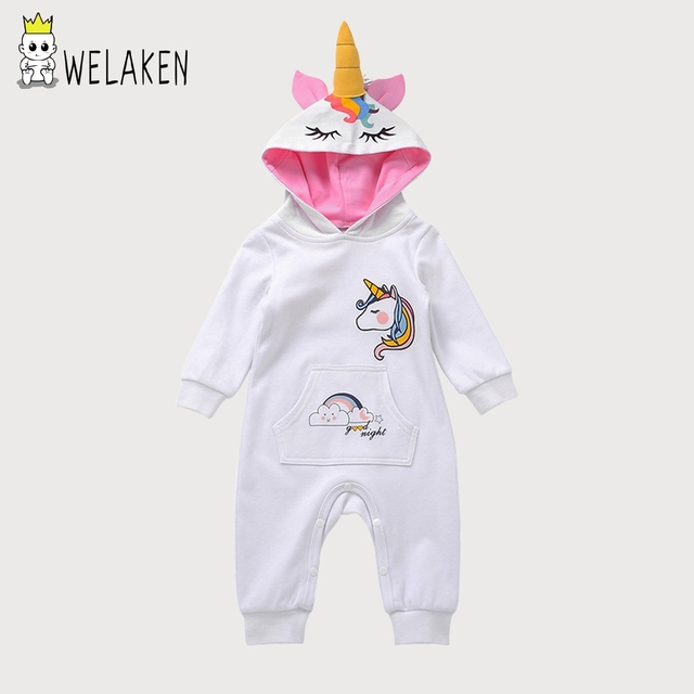 2cc2f536aa0 welaken Baby Rompers 2018 Spring Autumn Long Sleeve Baby Boys Girls  Jumpsuit Cute Cartoon Unicorn Infan Clothes