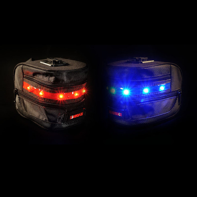 Practical Leadbike Bicycle Saddle Bag Outdoor Cycling Mountain Bike Back Seat Tail Pouch LED Warning Bike Taillight