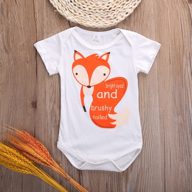 021dc2a55c7 Newborn Baby Infant Boys Girls Bodysuit Lovely Fox Print Jumpsuit Baby Soft  Outfits Bodysuits Clothes 0-18M