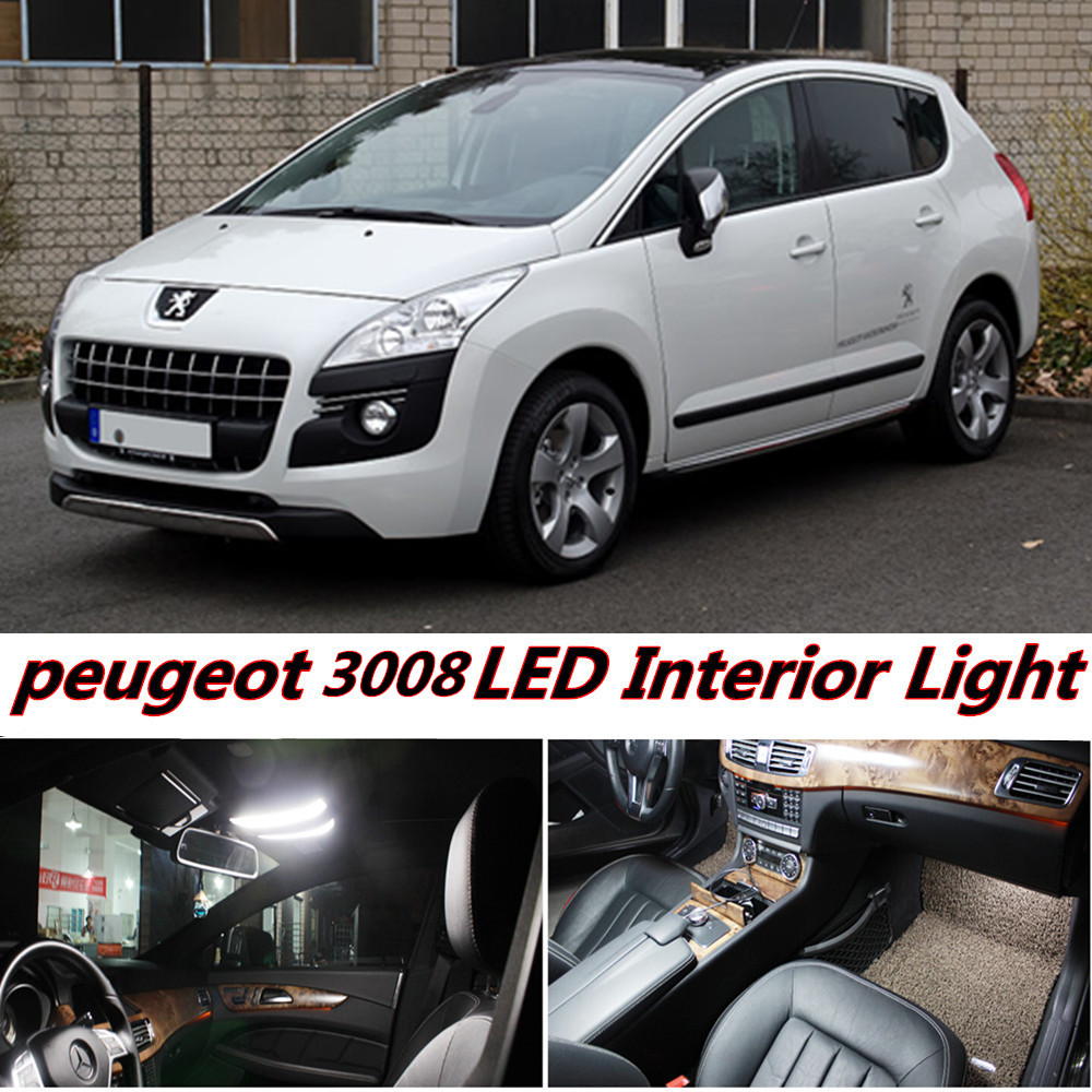 7pcs x free shipping error free led interior light kit package for peugeot 3008 accessories 2008. Black Bedroom Furniture Sets. Home Design Ideas