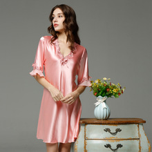 Ladies Sexy Silk Satin Night Dress Sleeveless Nighties V-neck Nightwear For Women Nightgown Nightdress Sleepwear ladies sexy silk sleepwear satin nightgown v neck nightdress slip nighties summer nightdress lace night gown for women chest pad