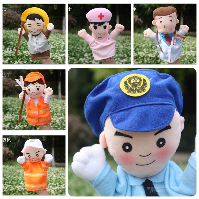 1pc plush puppets policeman nurse doctor farmer firefighter cleaner cook kindergarten character role story infant stuffed toy