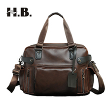 Фотография HIBO New men pack fashion retro crazy horse leather men