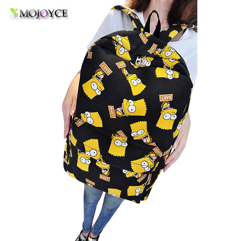 Backpack To School Pretty Women Canvas Backpacks Cartoon Printing Backpack For Teenagers Girls Shoulder Bag Mochila Feminina emoji black 3d printing 2017 high quality women canvas backpacks smiley school bag for teenagers girls shoulder bag mochila