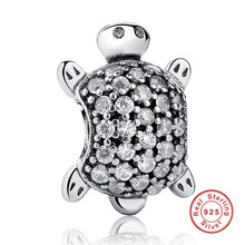 New Arrival 925 Sterling Silver Sea Turtle Charm Fit Original Bracelet Neckalce Authentic Jewelry Gift