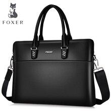 hot deal buy foxer brand genuine  leather laptop tote bag fashion briefcases for male messenger bag & shoulder  bags  simple handbag