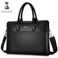 FOXER Men and Women Genuine Leather Briefcases Fashion Laptop Bag Messenger Bag Female Shoulder Bags Handbag