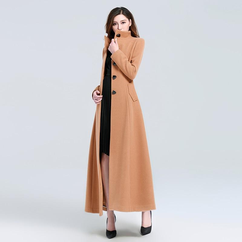 Casaco Feminino 2018 Donne Più Il Formato Autunno Inverno Cassic Semplice di Lana Maxi Cappotto Lungo Femminile Veste la Tuta Sportiva Manteau Femme