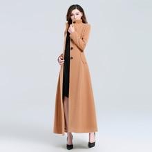 casaco feminino 2017 Women Plus size Autumn Winter Cassic Simple Woolen Maxi Long Coat Female Robe Outerwear manteau femme plus size beaded maxi long coat