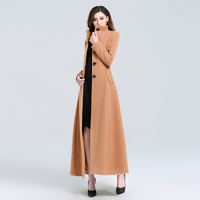 casaco feminino 2017 Women Plus size Autumn Winter Cassic Simple Woolen Maxi Long Coat Female Robe Outerwear manteau femme