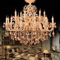 Гостиная Античное золото Хрустальная люстра лампы светодио дный мотоциклов LED отель люстры Италия висит освещение вилла 15 18 шт. подсвечники
