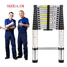 4.1M telescopic foldable Ladder folding aluminum ladder,multi-function domestic ladders and industrial laddera Safe Doorways