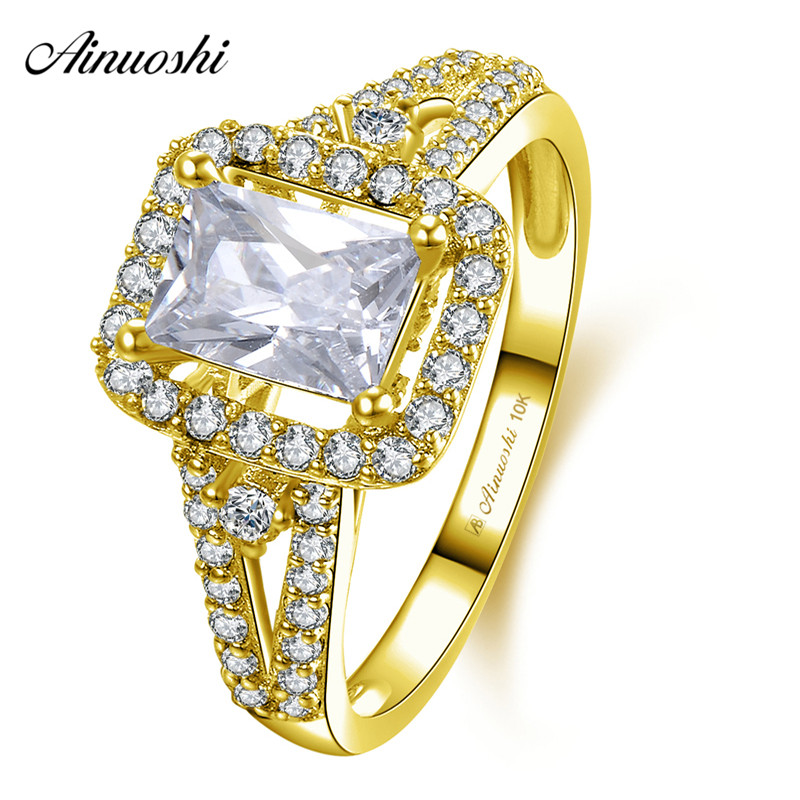 AINUOSHI 10k Solid Yellow Gold Rectangle Halo Ring Wedding Engagement Jewelry 0.6ct Emerald Cut SONA Diamond Bridal Ring Band